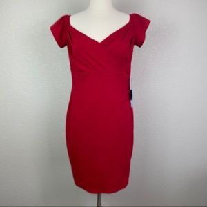 Bebe 10 Red Short Sleeve Bodycon Cocktail Dress